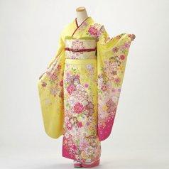 振袖 フルセット 花柄 Mサイズ からし・黄系 (中古 リユース 美品) 36946