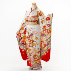 振袖 フルセット 花柄 Lサイズ 白・グレー系 (中古 リユース 美品) 86689