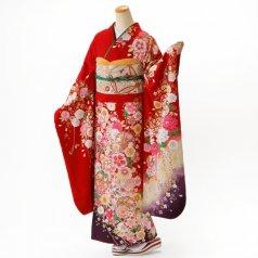 振袖 フルセット 花柄 Mサイズ 赤・ワイン系 (中古 リユース 美品) 16703