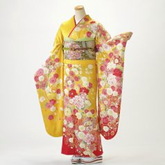 振袖 フルセット 花柄 Mサイズ からし・黄系 (中古 リユース 美品) 36700