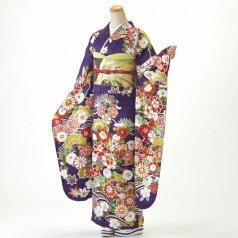 振袖 フルセット 古典柄 Mサイズ 紫系 (中古 リユース 美品) 50998