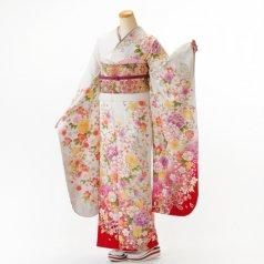 振袖 フルセット 花柄 Mサイズ 白・グレー系 (中古 リユース 美品) 86567