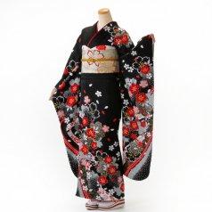 振袖 フルセット 花柄 Lサイズ 白・グレー系 (中古 リユース 美品) 86999