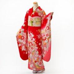 振袖 フルセット 花柄 Mサイズ 赤・ワイン系 (中古 リユース 美品) 16657