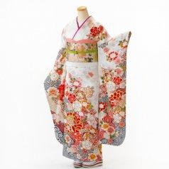 振袖 フルセット 花柄 Lサイズ 白・グレー系 (中古 リユース 美品) 86776