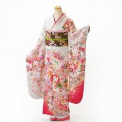 振袖 フルセット 花柄 Mサイズ 白・グレー系 (中古 リユース 美品) 86999