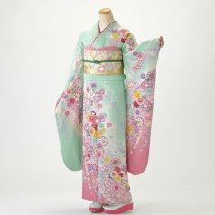 振袖 フルセット 花柄 Mサイズ グリーン系 (中古 リユース 美品) 96672
