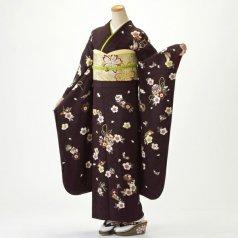 振袖 フルセット 古典柄 Lサイズ 茶系 (中古 リユース 美品) 70536