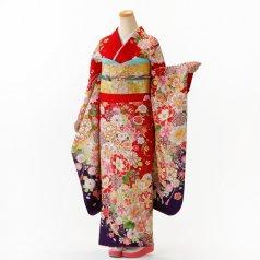 振袖 フルセット 花柄 Mサイズ 赤・ワイン系 (中古 リユース 美品) 16718