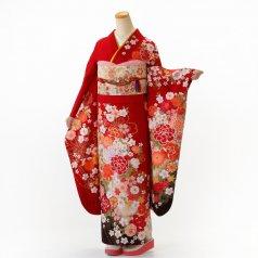 振袖 フルセット 花柄 Mサイズ 赤・ワイン系 (中古 リユース 美品) 16923