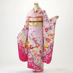 振袖 フルセット 花柄 Lサイズ ピンク・オレンジ系 (中古 リユース 美品) 46678
