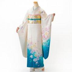 振袖 フルセット 花柄 Mサイズ 白・グレー系 (中古 リユース 美品) 86292