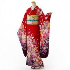 振袖 フルセット 花柄 Mサイズ 赤・ワイン系 (中古 リユース 美品) 16513