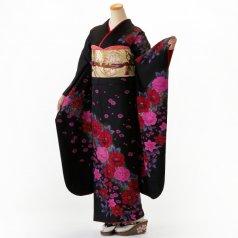 振袖 フルセット 花柄 Lサイズ 黒系 (中古 リユース 美品) 66529