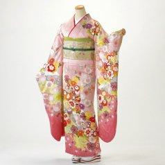 振袖 フルセット 古典柄 Lサイズ ピンク・オレンジ系 (中古 リユース 美品) 40165