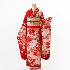 振袖 フルセット 花柄 Lサイズ 赤・ワイン系 (中古 リユース 美品) 16674