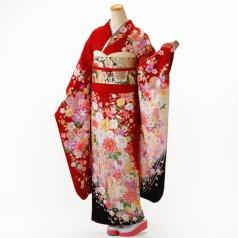振袖 フルセット 花柄 Lサイズ 赤・ワイン系 (中古 リユース 美品) 16676
