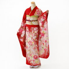 振袖 フルセット 花柄 Lサイズ 赤・ワイン系 (中古 リユース 美品) 16931
