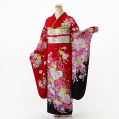振袖 フルセット 花柄 Mサイズ 赤・ワイン系 (中古 リユース 美品) 16395