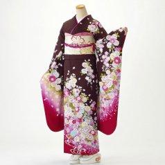 振袖 フルセット 花柄 Mサイズ 茶系 (中古 リユース 美品) 76491