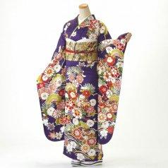 振袖 フルセット 古典柄 LLサイズ 紫系 (中古 リユース 美品) 50998