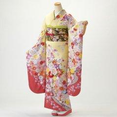 振袖 フルセット 花柄 Mサイズ からし・黄系 (中古 リユース 美品) 36678