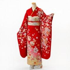 振袖 フルセット 花柄 Mサイズ 赤・ワイン系 (中古 リユース 美品) 16361