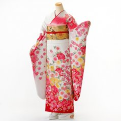 振袖 フルセット 花柄 Lサイズ 白・グレー系 (中古 リユース 美品) 86379