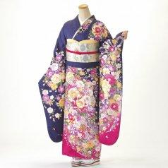 振袖 フルセット 花柄 Lサイズ 紫系 (中古 リユース 美品) 56477
