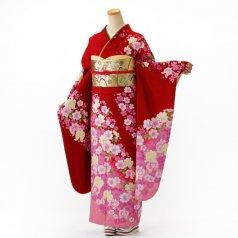 振袖 フルセット 花柄 Mサイズ 赤・ワイン系 (中古 リユース 美品) 16321