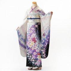 振袖 フルセット 花柄 Lサイズ 白・グレー系 (中古 リユース 美品) 86329