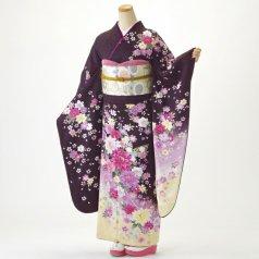 振袖 フルセット 花柄 Mサイズ 紫系 (中古 リユース 美品) 56412