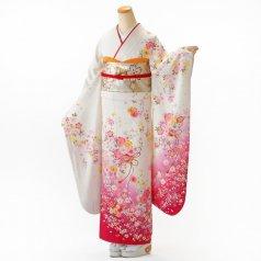 振袖 フルセット 花柄 Mサイズ 白・グレー系 (中古 リユース 美品) 86280