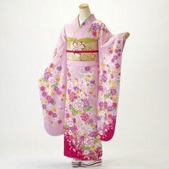 振袖 フルセット 花柄 Mサイズ ピンク・オレンジ系 (中古 リユース 美品) 46459
