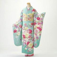 振袖 フルセット 花柄 Mサイズ グリーン系 (中古 リユース 美品) 96484