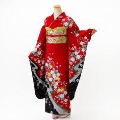振袖 フルセット 古典柄 Mサイズ 赤・ワイン系 (中古 リユース 美品) 10181