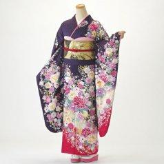 振袖 フルセット 花柄 Mサイズ 紫系 (中古 リユース 美品) 56448