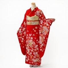 振袖 フルセット 花柄 Mサイズ 赤・ワイン系 (中古 リユース 美品) 16215
