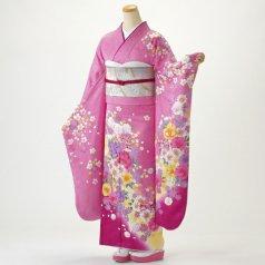 振袖 フルセット 花柄 Lサイズ ピンク・オレンジ系 (中古 リユース 美品) 46380