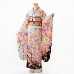 振袖 フルセット 花柄 Mサイズ 白・グレー系 (中古 リユース 美品) 86368