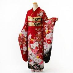 振袖 フルセット 花柄 Lサイズ 赤・ワイン系 (中古 リユース 美品) 16354