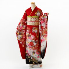 振袖 フルセット 花柄 Lサイズ 赤・ワイン系 (中古 リユース 美品) 16376