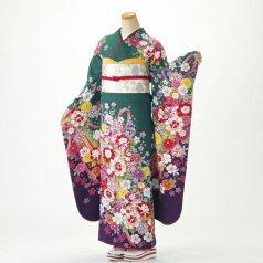振袖 フルセット 花柄 Lサイズ グリーン系 (中古 リユース 美品) 96505