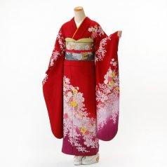 振袖 フルセット 花柄 Mサイズ 赤・ワイン系 (中古 リユース 美品) 16168