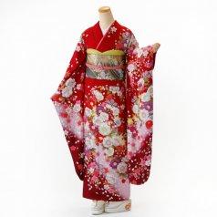 振袖 フルセット 花柄 Mサイズ 赤・ワイン系 (中古 リユース 美品) 16244