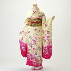 振袖 フルセット 花柄 Mサイズ からし・黄系 (中古 リユース 美品) 36397