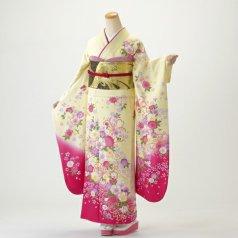 振袖 フルセット 花柄 Lサイズ からし・黄系 (中古 リユース 美品) 36397
