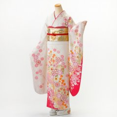 振袖 フルセット 花柄 Mサイズ 白・グレー系 (中古 リユース 美品) 86393
