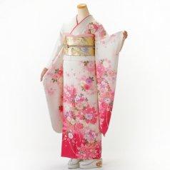 振袖 フルセット 花柄 Mサイズ 白・グレー系 (中古 リユース 美品) 86398