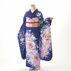 振袖 フルセット 花柄 Lサイズ 青・紺系 (中古 リユース 美品) 26272